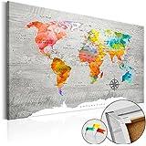Novedad! Tablero de corcho 120x80 cm � 3 tres colores a elegir - 1 Parte - Cuadro sobre corcho Poster Mapamundi k-C-0049-p-b 120x80 cm B&D XXL