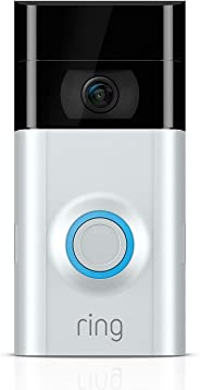 Ring Video Doorbell 2   Video Türklingel 2 1080p HD-Video, Gegensprechfunktion, Bewegungsmelder, WLAN, Satin Nickel