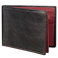 SPAIROW Mens Genuine Leather Wallet (W-343) BLACK :: RED