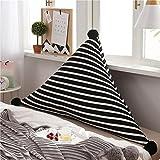Unbekannt MMM- Bedside Soft Case Dreieckige Große Rückenlehne Bett Sofa Kissen Waschbar Doppel Taillenschutz Pad (Farbe : Schwarz, Größe : 180*75cm)