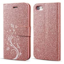 UEEBAI Case for iPhone 6 6S,Luxury Bling Glitter Case with [Magnetic Closure] [Card Slots] [Kickstand] PU Leather Flip Wallet Cover Case with Elegant Flower Patterns Printing for iPhone 6/6S - Rose gold