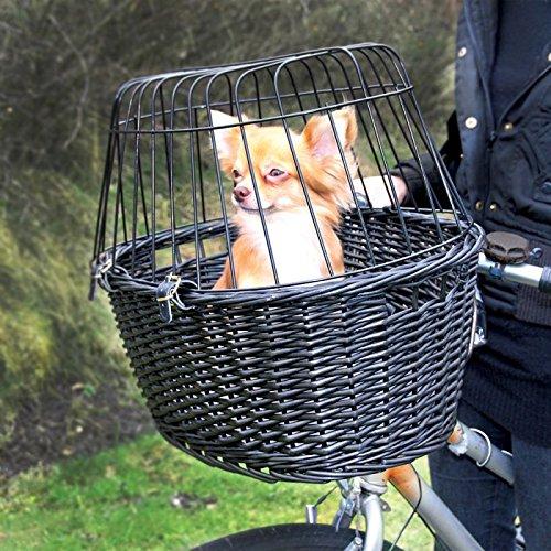 wangadocesta in Weide schwarz zum Aufhängen am Lenker mit Schutzgitter, dass sie eine gute Sicht, inklusive Kissen COLOR anthrazit Kunstleder Wildleder für kleine Hunde bis 5kg (Max 8kg).