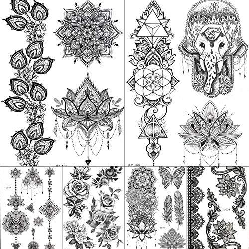 lihaohao Wasserdicht Schwarz Mandala Blume Fake Tattoos Aufkleber Lotus Fake Jewels Indien Schwarz Tatoo Temporäre Frauen Mädchen Tattoo20X15Cm 6Pc (Mit Mädchen Drachen-tattoo-halloween-kostüm)