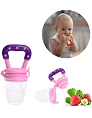Safe-O-Kid BPA-free Silicone Food/Fruit Nibbler, Soft Pacifier/Feeder for Baby Purple and Pink
