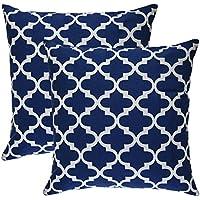 Tree Wool®, (confezione da ) Trellis Design Cotone decorativo Cuscino bezueg, Marineblau, 40 x 40