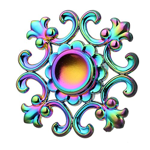 Flowers Shape Flywheel Fingertip Gyro Fidget Artistic Spinner Ultra Bearings Finger Hand Custom Bearing Fidget Toys Lanspo (Multicolor)