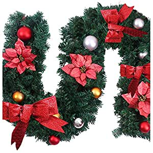 Bluecookies 9ft 1 8m guirlande de noel rouge guirlande for Decoration de noel amazon