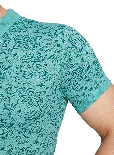 oodji Ultra Herren Bedrucktes Pique-Poloshirt Grün (6562F)