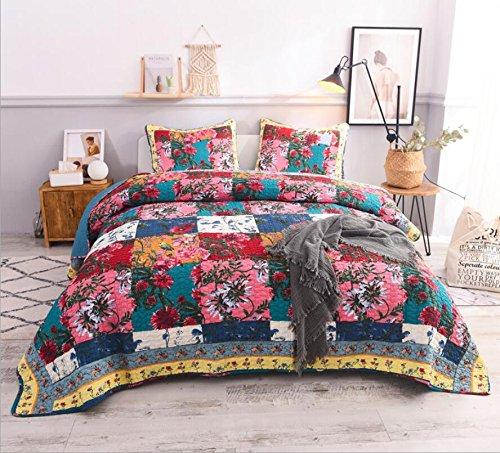 LMXJB 100% Baumwolle Leichte Super Soft Hand-Splice Blumenmuster Gesteppte Tagesdecke, Knie Decke Klimaanlage Quilt 1 Bettdecke 2 KissenbezüGe [KöNigin/Doppe/Checkered Pattern]