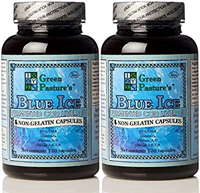 Green Pasture BLUE ICE Fermented Cod Liver Oil -Non-Gelatin Capsules (2 Pack) by Green Pasture Products