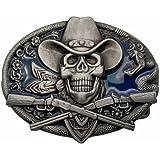 YONE Hebilla de cinturón Western Cowboy Skull Pirate Rifles Belt Buckle
