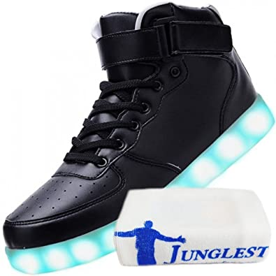 [Present:kleines Handtuch]Weiß 38 Leuchtende High Neu Light Top JUNGLEST Schuhe Led Freizeit Sport Sneakers Blinken BdQh9M