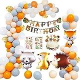 MMTX Animale Compleanno Festa Decorazione Bambini Festoni, Banner di Buon Compleanno Palloncino in Lattice 40 Palloncino Foil