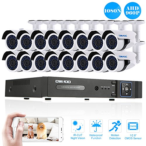 OWSOO-16CH-1080N-DVR-H264-Grabador-16x-960P-AHD-Cmara-Bala-IR-CCTV-16x-60ft-Cable-de-Vigilancia-Soporta-APP-Control-Deteccin-de-Movimiento-Visin-Nocturna