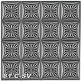1 m² Deckenplatten Raumdesign Deckendesign Deckendekoration 50x50cm, Nr.81, Farbe:schwarz-silber