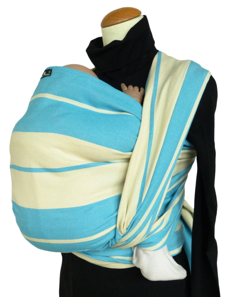 Didymos Woven Baby Wrap, Standard Turquoise, Size 5, 420 cm, Turquoise/White Didymos Various carrying positions, in front, sideways an on the back Special, diagonally stretchable cloth to give optimal support Holds your baby in the anatomically correct posture 1