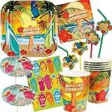 Neu: 4 Deko-Cutouts * Paradies * zur Dekoration für eine Sommer-Mottoparty | Tischdeko Gartenparty Ukulele Cocktail Ara Strand Palmen Hawaii Motto Party - 2
