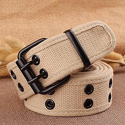 HOOM-Tressées en toile de jeunes hommes et femmes de l'aiguille double boucle ceintures jeans Boucle ceintures tissées,kaki ,110cm