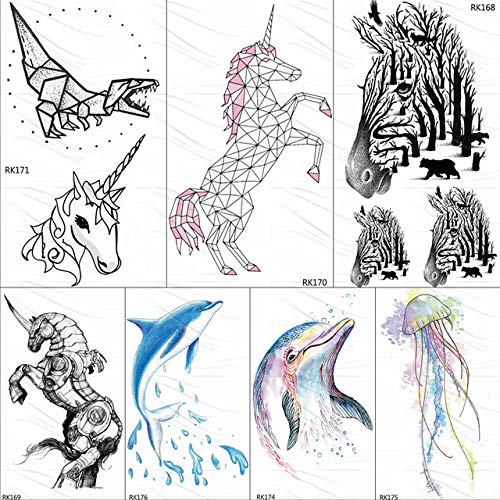 lihaohao Geometrische Einhorn Tattoo Temporäre Dinosaurier Delphin Papier Für Kinder Wasserdicht Flash Aquarell Zebra Tattoo Aufkleber 10X6 cm 7 Stück (Zebra-augen Halloween Make-up)