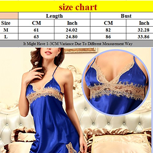 Zhhlinyuan Enchanting Women's Lingerie Sexy Deep-V Strap Nightgowns Sleepshirts Light Pink