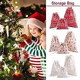Todaytop Weihnachtskordelzug-Geschenk-Taschen Weihnachtsmann-Sack-Präsent-Taschen für Partei-Bevorzugungen und Süßigkeit,Weiß,S