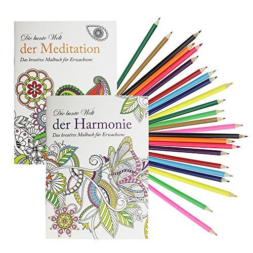 COM-FOUR® 2x Malbücher für Erwachsene, Harmonie und Meditation, mit 24 Buntstiften (Set 1)
