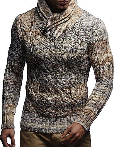 LEIF NELSON Herren Pullover Hoodie Strickpullover Langarm Longsleeve Sweater Sweatshirt Zipper Grobstrick LN6001; Gr__e M, Beige