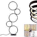 Lampadaire LED Rodekro en métal noir, lampe design sur pied à intensité variable grâce à l'interrupteur sur le câble, 36 Watt