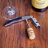 CORKAS Kellnermesser - multifunktionaler Korkenzieher mit Natur Ebenholzgriff - Weinöffner & Flaschenöffner für Kellner & Barkeeper - 3