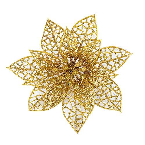 Struggge 10 pcs glitter artificial wedding christmas flowers poinsettia ornamenti per l'albero di natale, 15cm (gold)