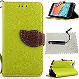 TOCASO Grün Leder Schutzhülle für LG Nexus 5 Hülle Flip Wallet Case, Leder Hüllen Portable Handyhülle Anti-Scratch [ID Card Slot] Soft Silikon Back Tasche r Schutzhüllen für LG Nexus 5