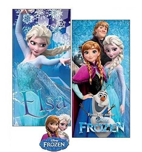 Frozen set due teli mare in microfibra ad alta assorbenza 300 gr/mq stampa fotografica, 100 x 70 cm, originali con etichetta. (set 3)