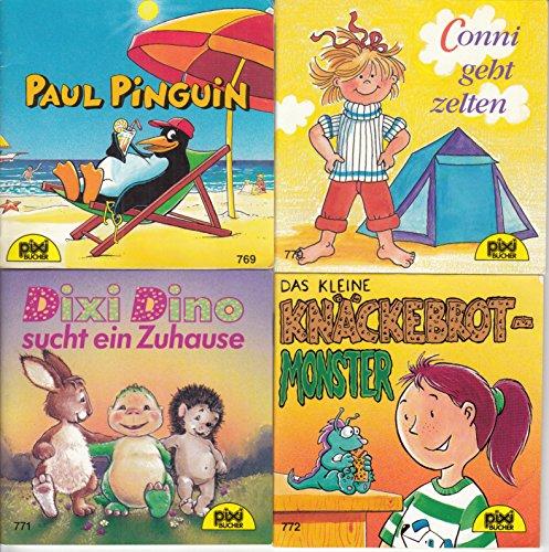 4 Pixi-Bücher aus PIXI-Serie 93: Nr. 769 Paul Pinguin; 770 Conni geht zelten; 771 Dixi Dino sucht ein Zuhause; 772 Das kleine Knäckebrotmonster.