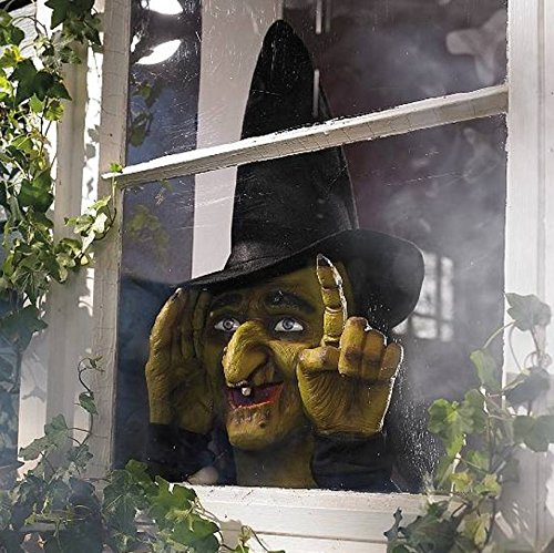 Decoración de Halloween Scary Peeper Bruja Golpeadora | Activada por Movimiento de Verdad Toca la Ventana