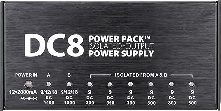 VITOOS DC8 Portable Guitar Effekte 8 isolierte Ausgänge 6 Weg 9V 2-Wege einstellbar 9V 12V 18V Switching Stabilisierte Spannungsversorgung mit Anallobar AC100-240V