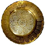 Santosh Brass Pooja Thali Plate With Flower Design For God Pooja/Parfect Finish For Home & Tempal In 100% Pure Brass ( L X W X H ) ( 7 X 7 X 1.3 ) CM. ( Weight - 30 ) GM. + FREE Gift Brass Beautiful 25 GM. Divali Kuber Deepak
