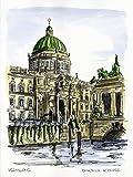 Original Feder und Aquarell auf Aquarellkarton: BERLIN Berliner Stadtschloss / 24x32 cm