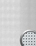 Wandpaneel Quadratloch 3D Dekor WallFace 10988 QUAD Design Wandplatte selbstklebend silber metallic   2,60 qm