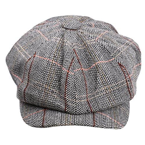 Phenovo Newsboy Golf Flach Gatsby Tweed Sonnenhut Land Barett Bäcker Kappe Khaki - Hellgrau, one size (Tweed-newsboy)