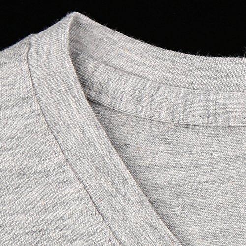 Musclealive Herren T Shirt Slim Fit V-Ausschnitt Kurzarm Sportlich Muskel Tops Weich Baumwolle Grau