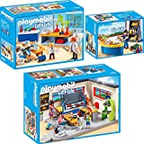 PLAYMOBIL City Life 3er Set 9455 9456 9457 Klassenzimmer Geschichtsunterricht + Chemieunterricht + Hausmeister mit Kiosk