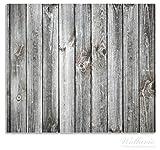 Wallario Herdabdeckplatte / Spritzschutz aus Glas, 2-teilig, 60x52cm, für Ceran- und Induktionsherde, Holz-Optik Textur hellgraues Holz Paneele Dielen mit Asteinschlüssen