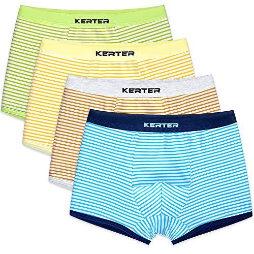 4 Pack Kinder Jungen Boxershorts Unterwäsche Slips Junge Boxer Unterhose Baumwolle Mikrofaser Slips Schlüpfer 2-13 Jahre (110, Streifen)