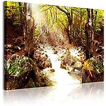 DekoArte Cuadro Moderno con Diseño Naturaleza Bosques y Árboles, Tela, Multicolor, 120x3x80 cm