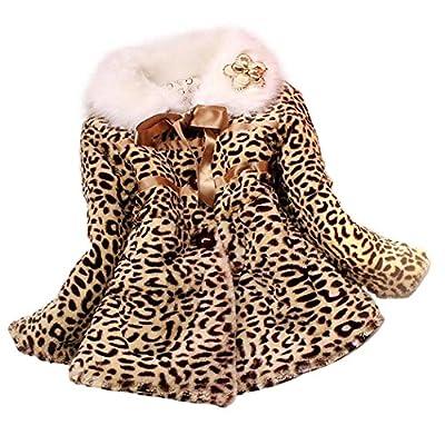 Covermason Girls Kids Princess Faux Fur Leopard Coat Warm Jacket Snowsuit