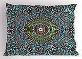Geometric Pillow Sham, tradizionale stile marocchino mediorientali Arabesque culture Artful design, decorative standard Queen Size federa stampata, 76,2x 50,8cm, ardesia blu rubino