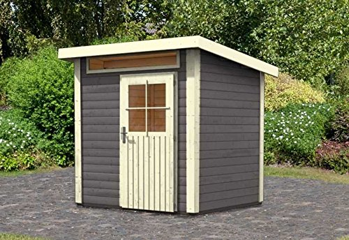 Karibu Woodfeeling Gartenhaus Kulpin 2 terragrau 28 mm Außenmaß (B x T): 204 x 173 cm Dachstand (B...