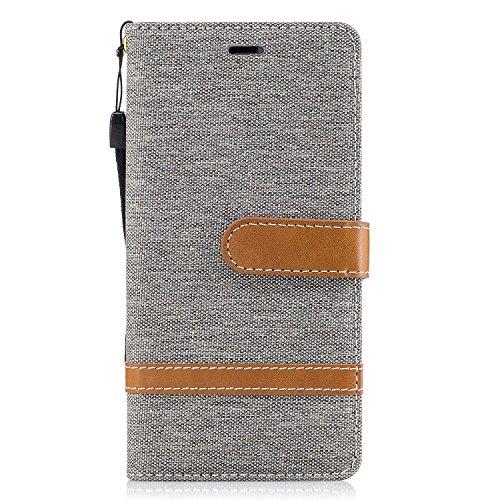 Lomogo [Huawei P9 Lite] Hülle Leder, Schutzhülle Brieftasche mit Kartenfach Klappbar Magnetverschluss Stoßfest Kratzfest Handyhülle Case für Huawei P9Lite - BIFE23112 Grau