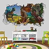 Tapete 3D Effekt (87 x 48 cm, Velociraptor 3D Tapete Dinosaurier Familie Wandaufkleber)