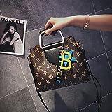 KLXEB Feder Tasche Tasche Drucken In Farbe Alle-Match Lässige Umhängetasche Messenger Bag, Schwarz